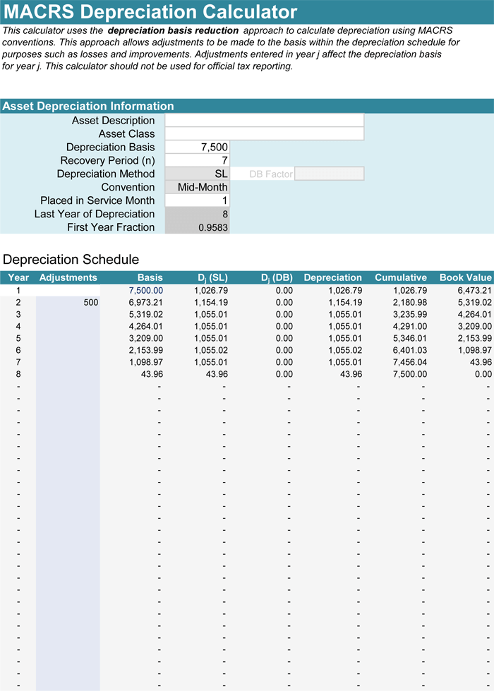 fixed asset depreciation calculator