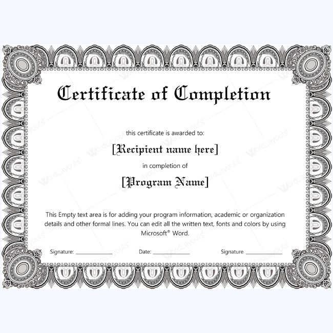 Doc673502 Award Certificate Template Word Word Achievement – Certificate of Completion Word Template