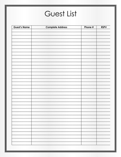 Free Wedding Guest List Templates for Word and Excel ...