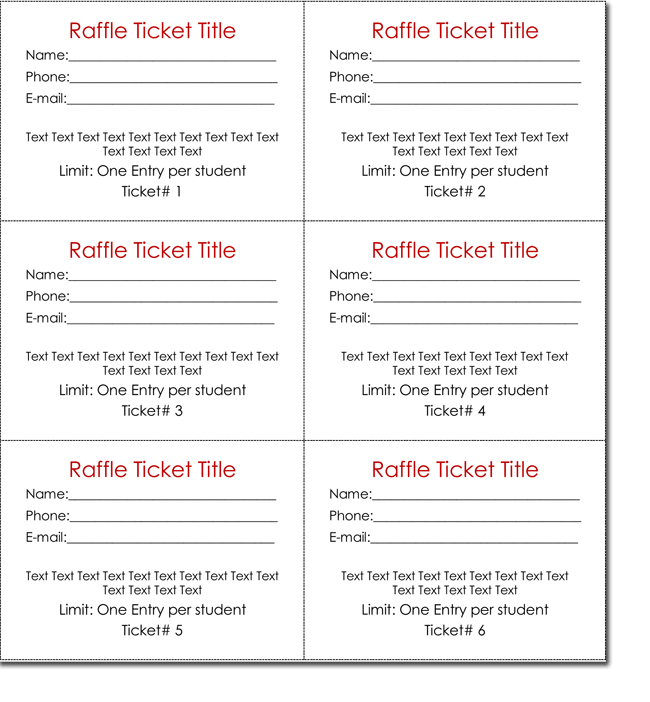 blank raffle ticket template
