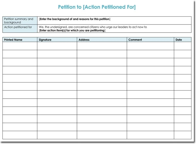 Petition Templates - Create Your Own Petition With 20+ Templates - free petition templates examples
