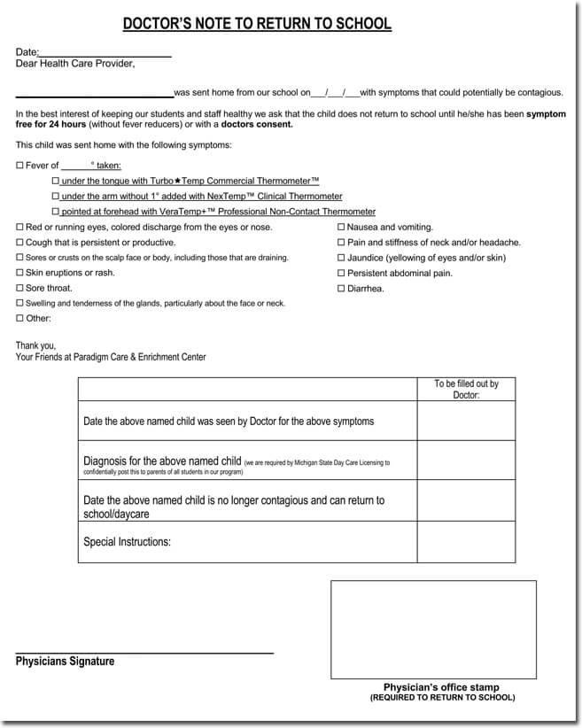 Doctor\u0027s Note Templates - 28+ Blank Formats to Create Doctor\u0027s Excuse - doctor note