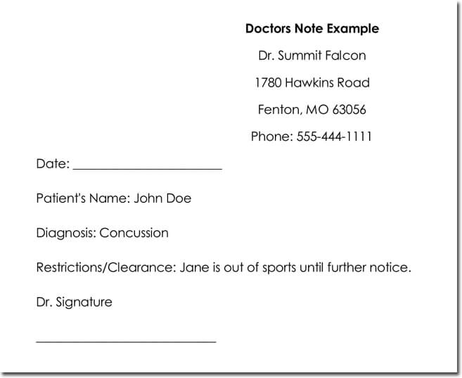 concussion doctors note - Goalgoodwinmetals - doctor note example