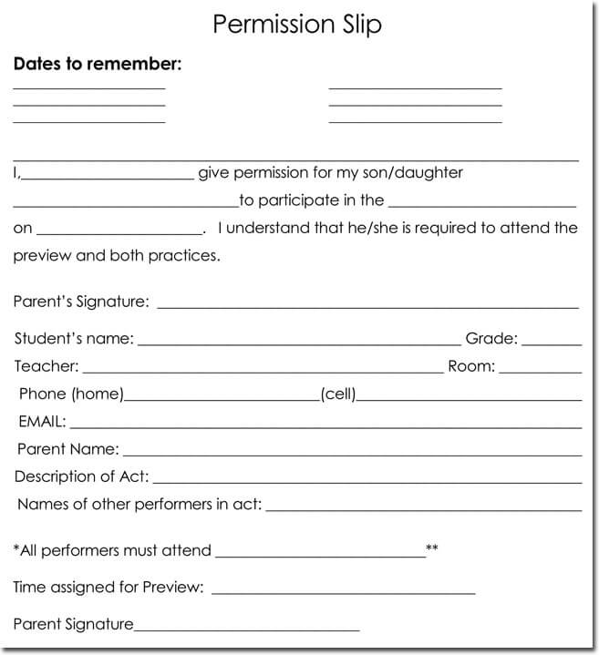 25+ Field Trip Permission Slip Templates for Schools and Colleges - permission form template