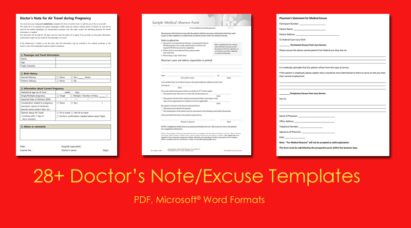 fake doctors note templates