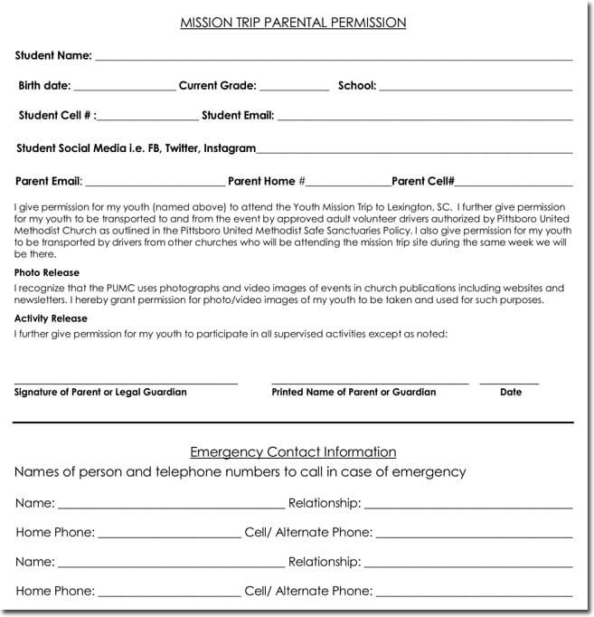 25+ Field Trip Permission Slip Templates for Schools and Colleges - contact information template word