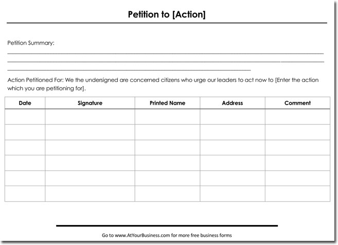 Petition Templates - Create Your Own Petition With 20+ Templates - creating signers form for petition