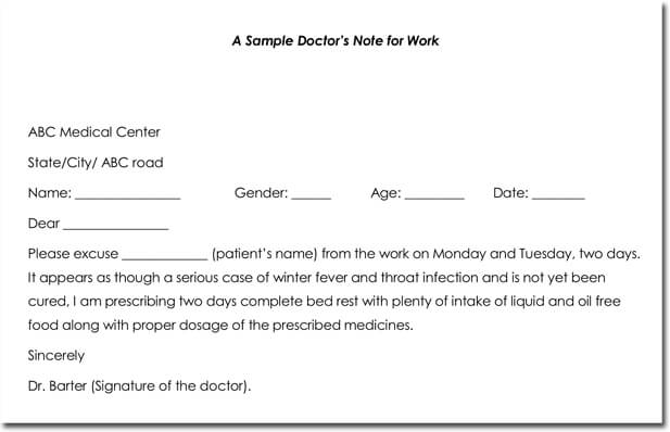 Doctoru0027s Note Templates - 28+ Blank Formats to Create Doctoru0027s Excuse - doctors note template