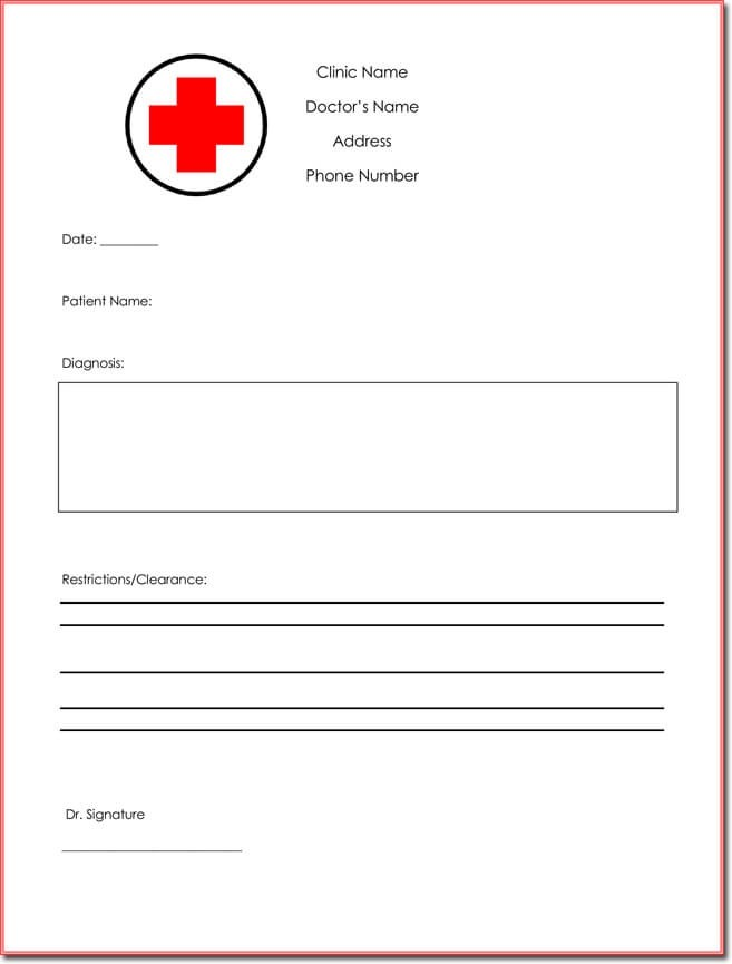Doctor\u0027s Note Templates - 28+ Blank Formats to Create Doctor\u0027s Excuse - doctors note template
