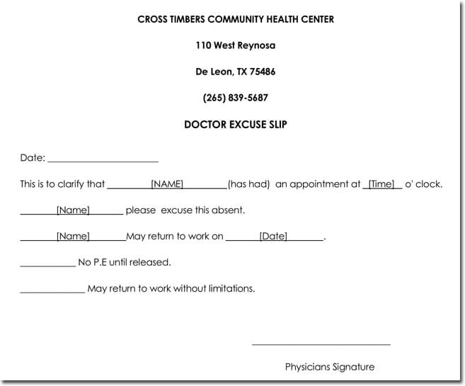 Doctor\u0027s Note Templates - 28+ Blank Formats to Create Doctor\u0027s Excuse - doctor note word