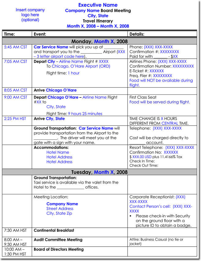 travel schedule template - 28 images - trip schedule template 8 - business itinerary template