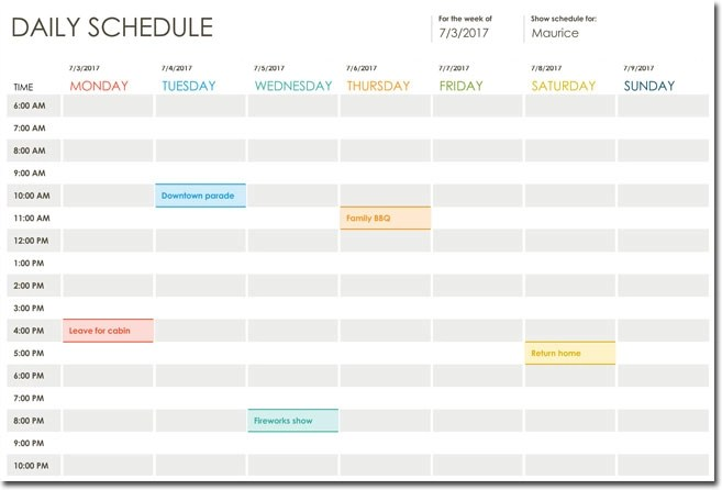 7+ Daily Itinerary Templates, Formats to Download in Excel and Word - daily time schedule template