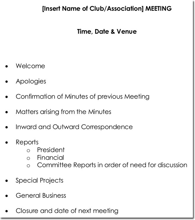 Business Meeting Itinerary Template | Templates.csat.co