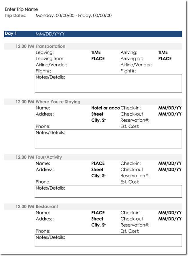 Free Itinerary Templates to Perfectly Plan Your Trips, Travel Plans