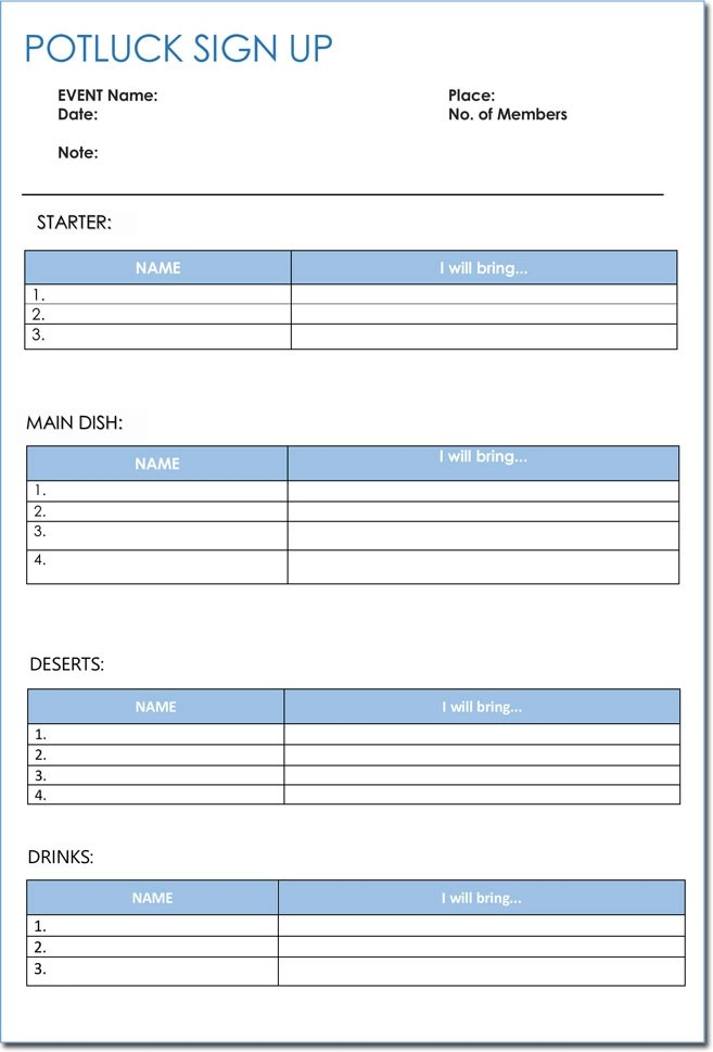 Signup Sheet Templates - 40 Sheets 15 Types (Word  Excel)