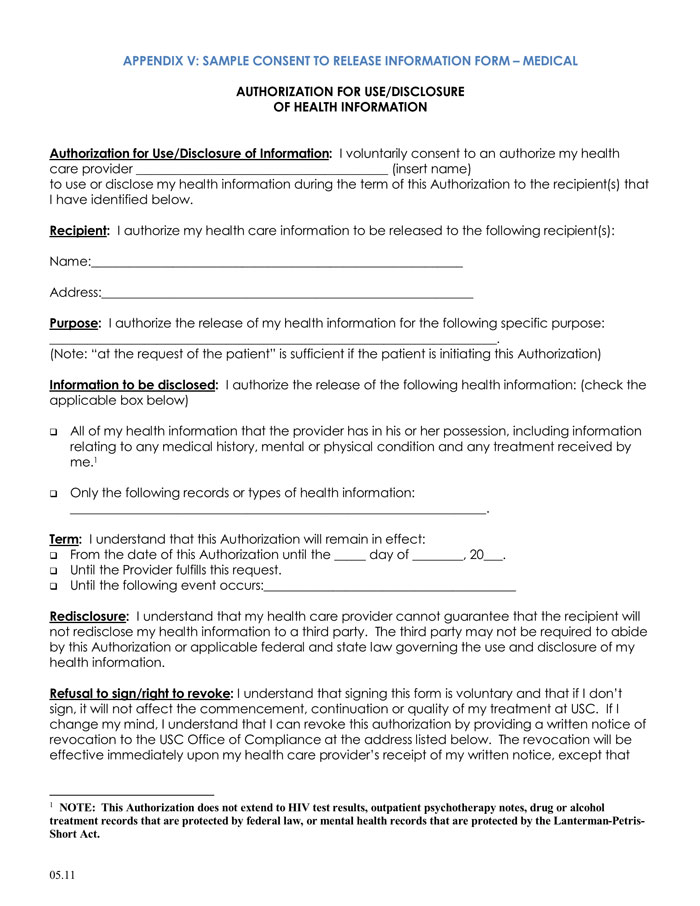 20+ Samples of Medical Records Release  Authorization Forms - medical records release forms