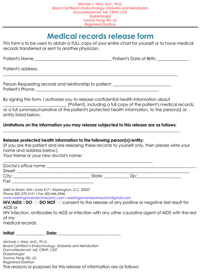 20+ Samples of Medical Records Release  Authorization Forms
