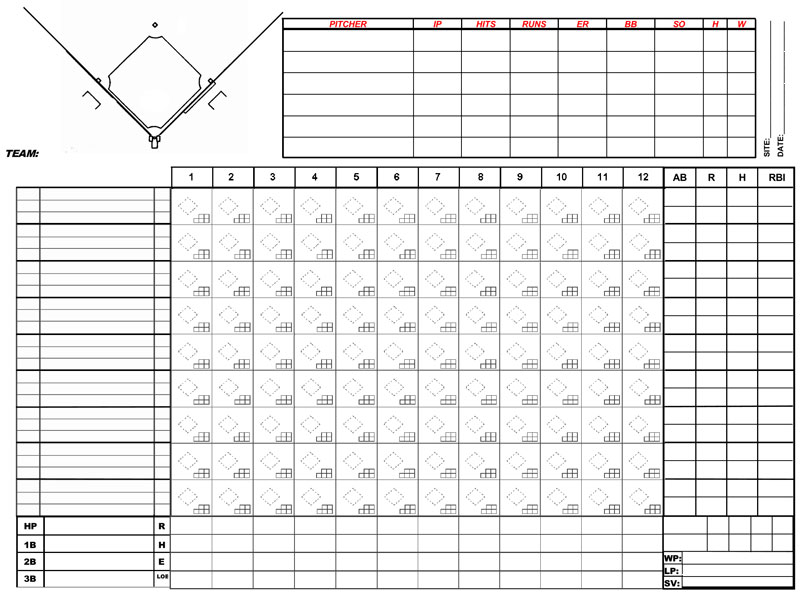 Baseball Score Sheets - Free Printable - Word, Excel, PDF Format