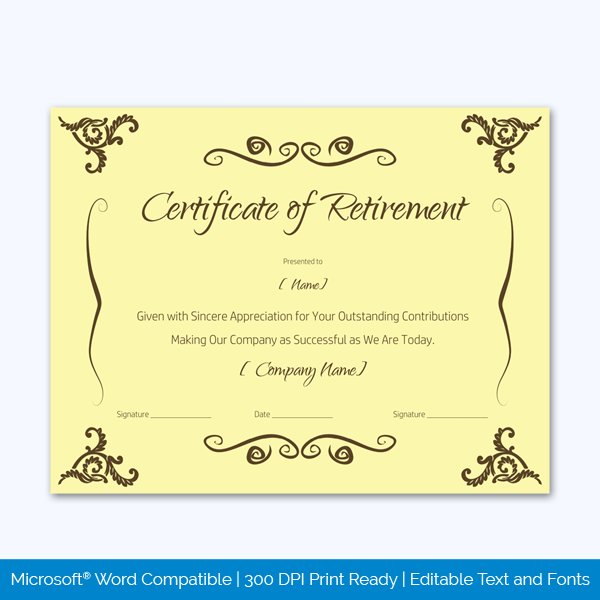 retirement certificate templates for word