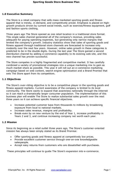 Business Plan Sample Executive Summary  Incident Report Template