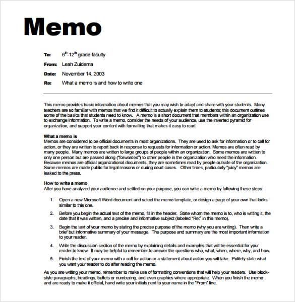 internal memo format sample