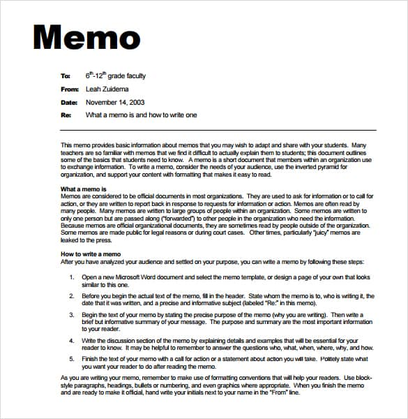 memorandum template word 2007