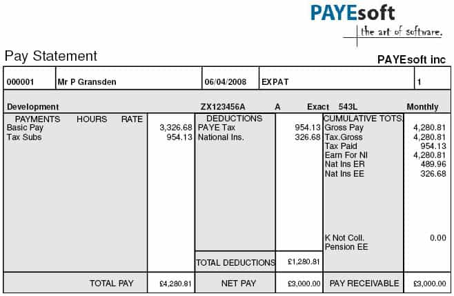 Doc820531 Template of a Payslip Employee Payslip Template for – Example Payslip