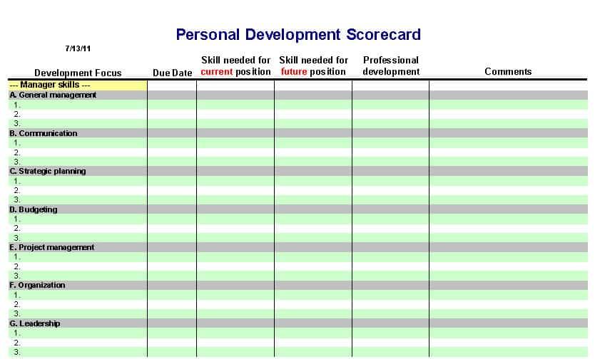 Personal Development Plan Template Excel - mandegarinfo - personal business plan template