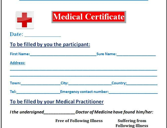 7 Medical Certificate Templates - Excel PDF Formats - certificate sample in word
