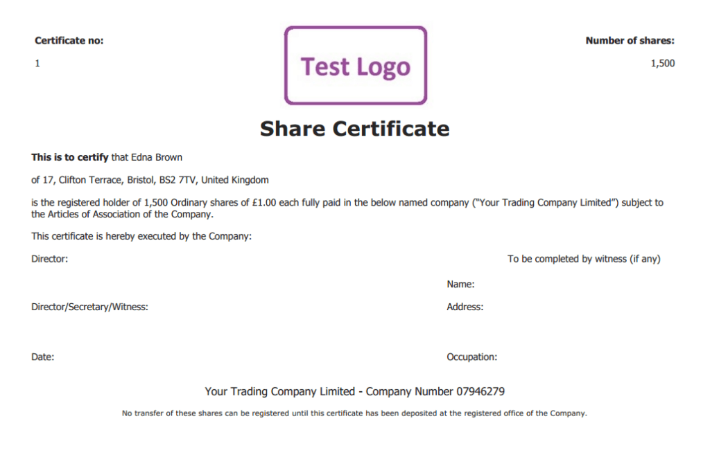 Stock Certificate Template Pdf – Blank Share Certificate