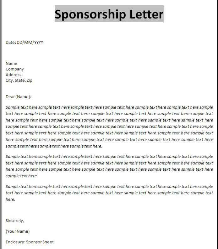 Business Proposal Template For Sponsorship – Letter of Intent for Sponsorship