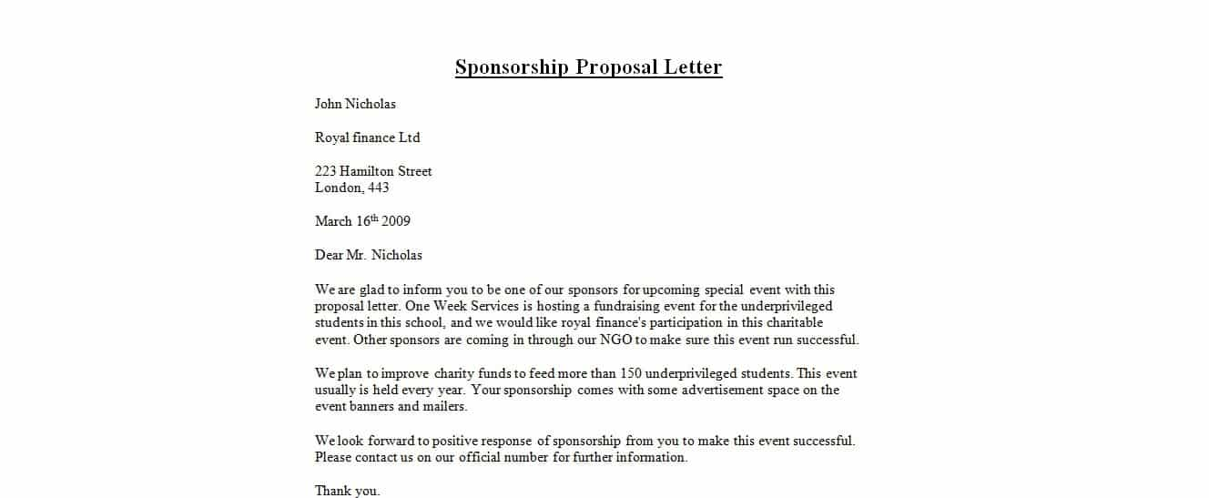 Doc697795 How to Write Sponsor Letter 40 Sponsorship Letter – Sample of a Sponsorship Letter