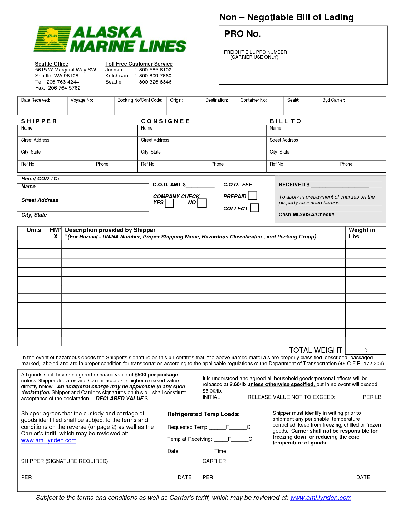 Bill Of Lading Word File – Bill of Lading Template Word