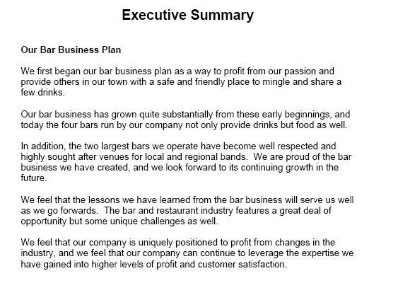 executive summary template - Sogol - business summary template