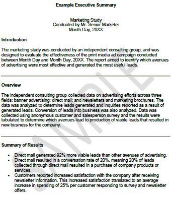 template of executive summary - zrom