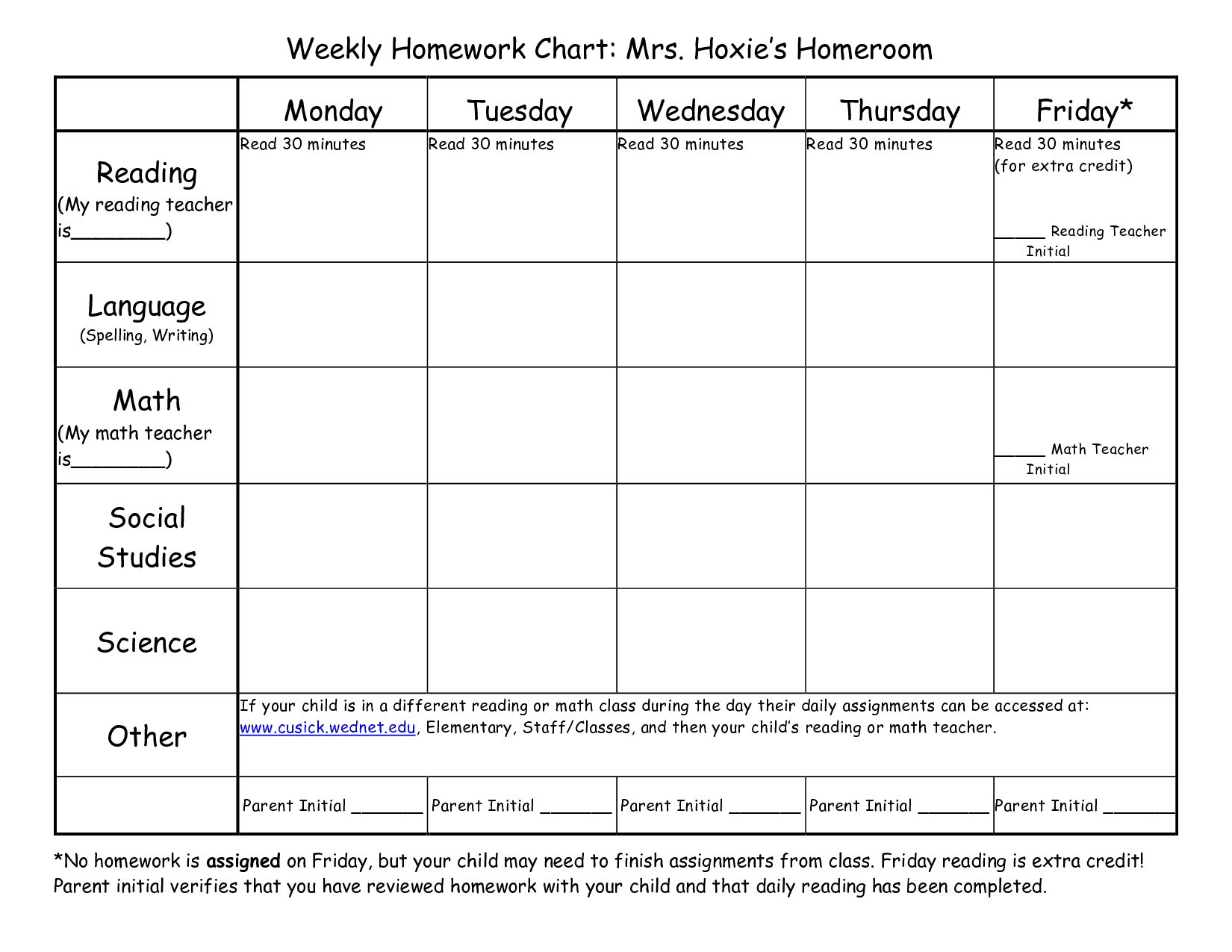 weekly homework templates