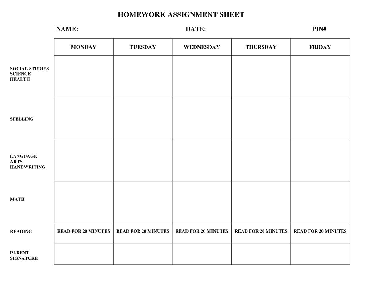 Weekly Homework Template - Costumepartyrun