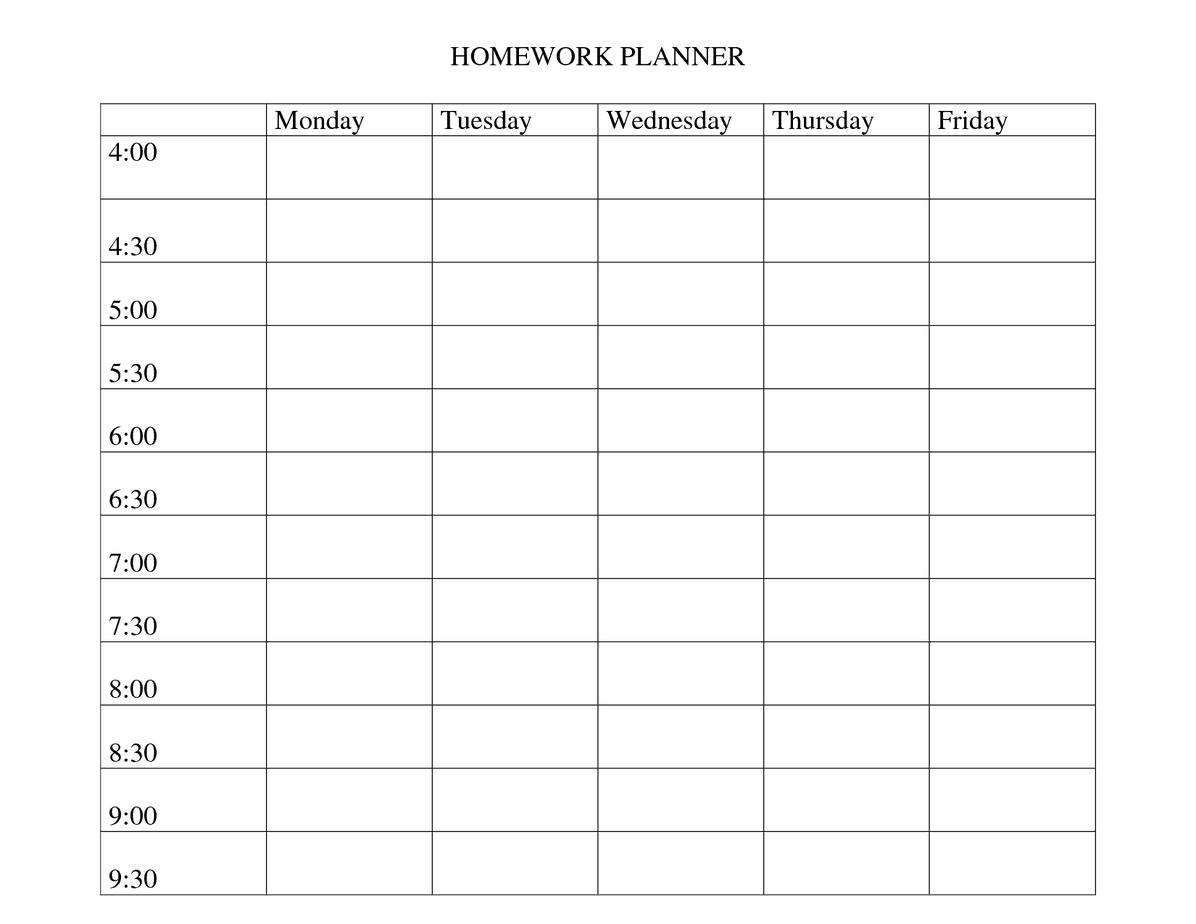 sample school schedule template