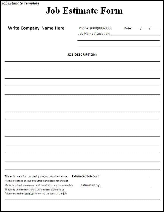 estimate format in word - Onwebioinnovate - loan estimate form