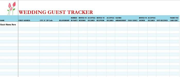 17 Wedding Guest List Templates - Excel PDF Formats - sample wedding guest list