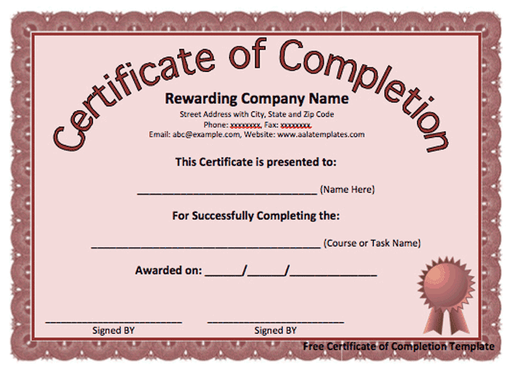 project completion template