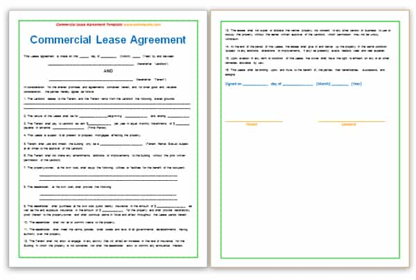 Free Commercial Lease Agreement Template Word - mandegarinfo - business rental agreement template