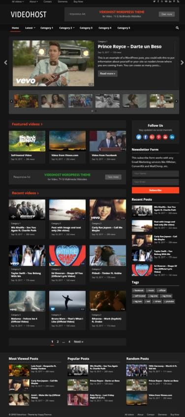 VideoHost Theme Review - HappyThemes TRUTH