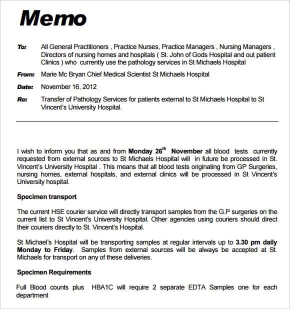 memo format pdf - Idealvistalist - formal memorandum template