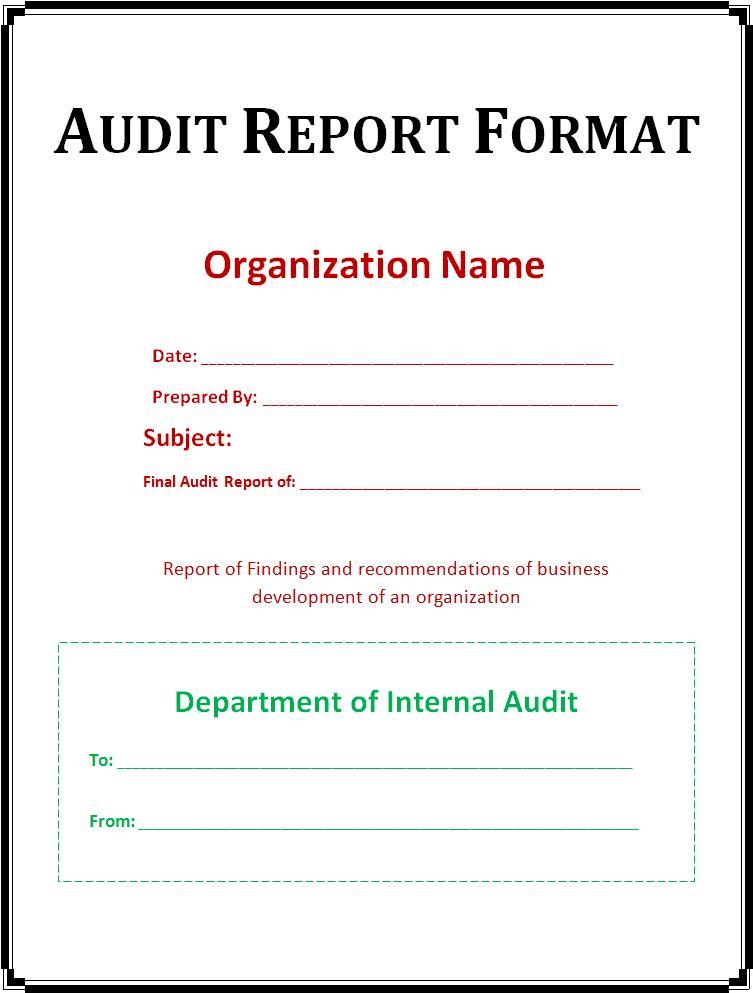 external audit report - auditing report format