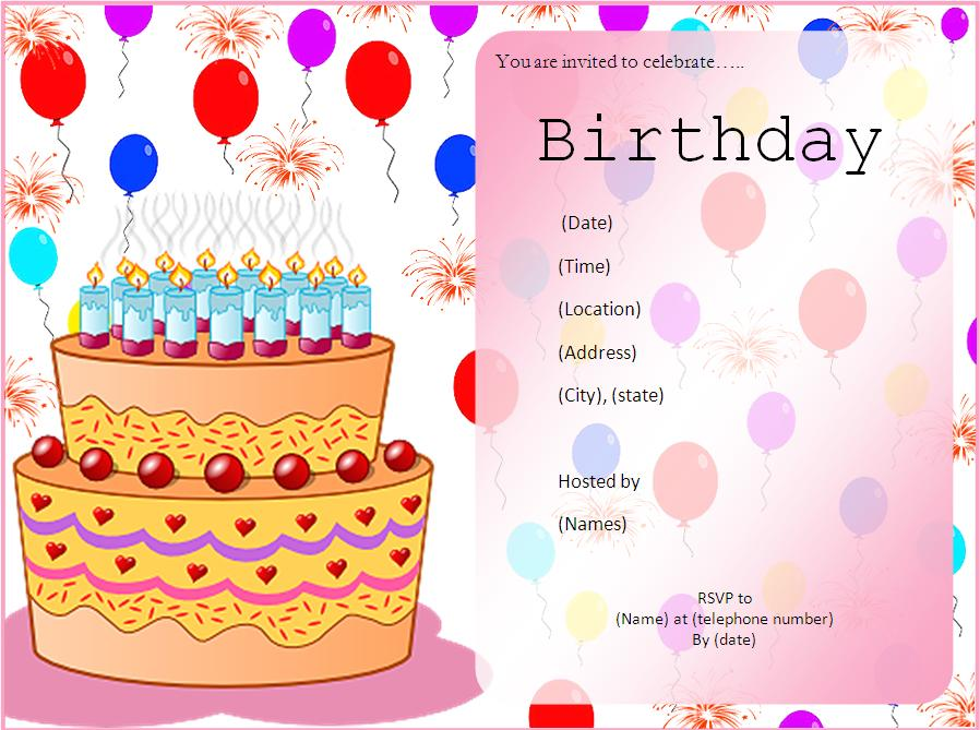 Birthday Invitation Templates 5+ Free Printable MS Word Formats