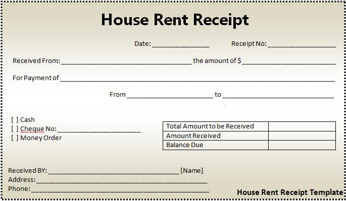 Sample Of Rent Receipt – House Rent Slips