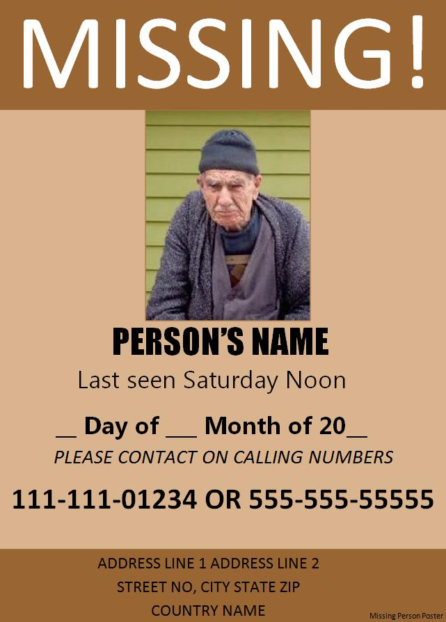 Missing Person Poster Template Free Printable MS Word Format