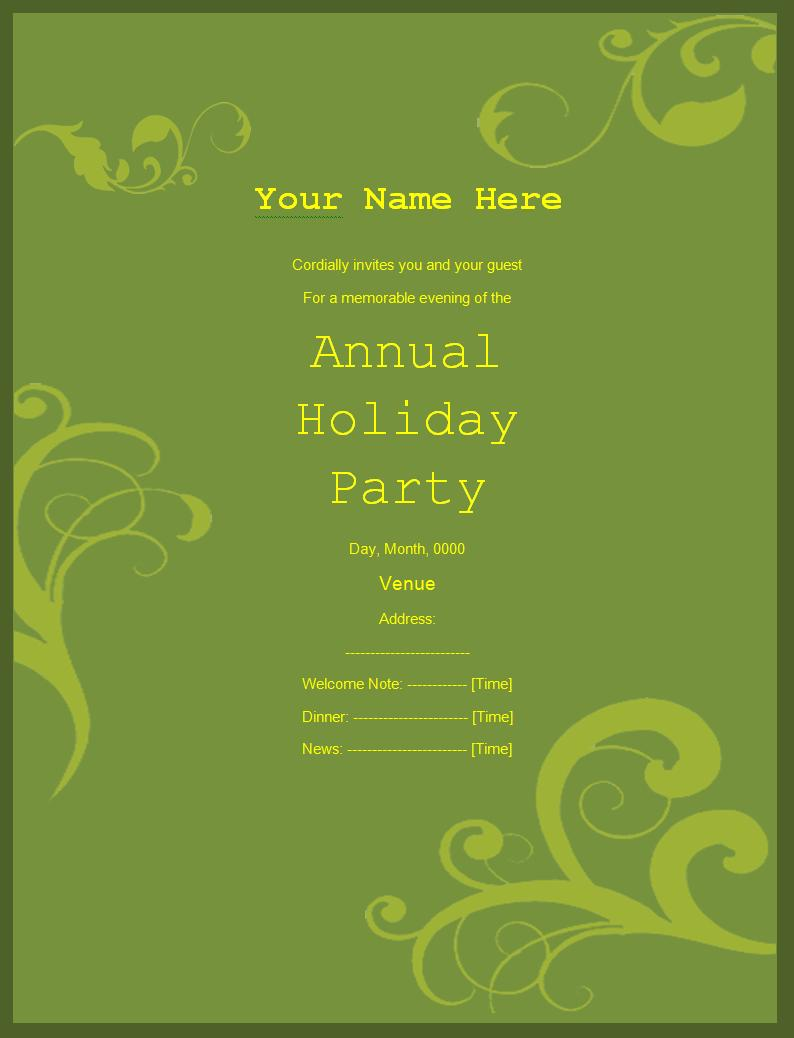 Invitation Writing Template – Free Invitation Templates Word