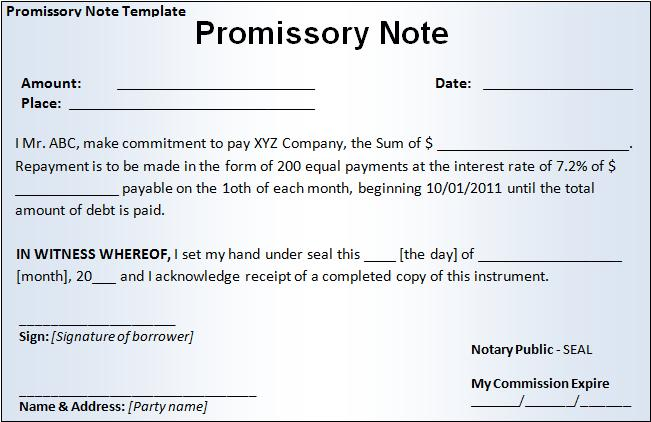 Promissory Note Template Free Printable MS Word Format